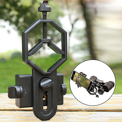 Black Smartphone Cell Phone Adapter Holder Mount Telescope Spotting Scope NEW