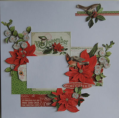 Handmade Scrapbook Page Pre-made Scrapbooking layout Christmas/December Theme