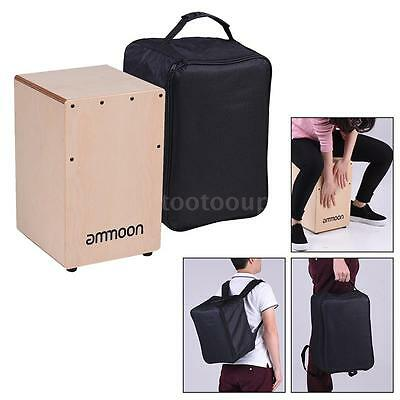 ammoon Wooden Cajon Box Drum Hand Drum Persussion with Bag for Kids New V2L8