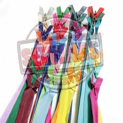 """10""""/ 25cm. Assorted Mixed Colors Closed End Invisible Hidden Zippers 12,24,36"""