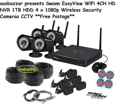 Swann EasyView WiFi 4CH HD NVR 1TB HDD 4 x 1080p Wireless Security Cameras CCTV