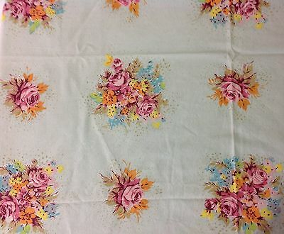 "Vintage 1950s Cotton Tablecloth Flowers 33"" Light Blue Mixed Flowers Roses"