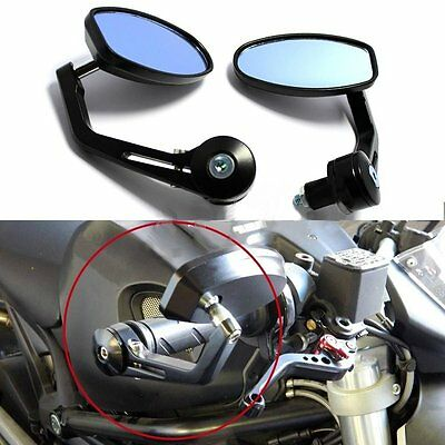 Black Motorcycle 7/8 Handle Bar End Rear Mirrors For Sport Bikf4