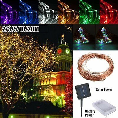 6/10/15/20m Solar Powered Warm White Copper Wire Outdoor String Fairy Light PY