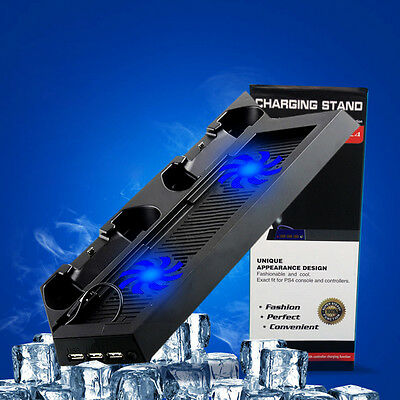 New Dual USB Fan Cooling Station Charging Dock Stand for PS4/PS4 Slim Controller