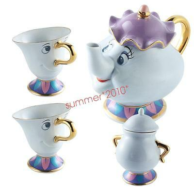 Beauty And The Beast Tea Set Mrs Potts Chip Teapot Cup Sugar Pot  Creative Gift