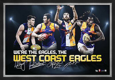 West Coast Eagles Signed AFL Player Print Framed Naitanui Kennedy Shuey Darling