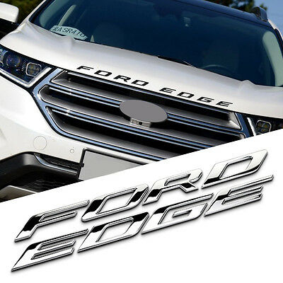 Metal Ford Edge Car Front Hood Emblem Badge Sticker Decal For Ford Silver