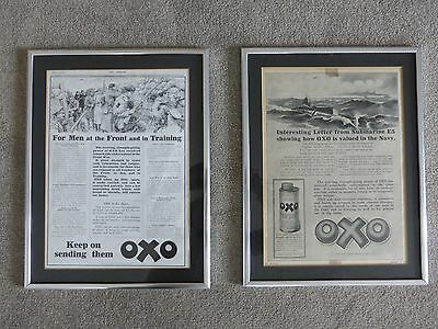 2 Framed OXO Advertisements Published During World War One - Over100 Years Ago