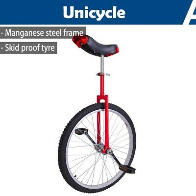 "24"" Wheel Unicycle Uni Cycle Balance Fun Bike Skidproof Scooter Circus Adult Red"
