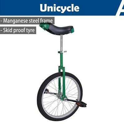 "20"" Wheel Unicycle Uni Cycle Balance Fun Bike Fitness Scooter Circus Youth Green"