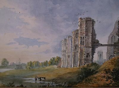 Antique Early 19Th Century Watercolour Painting 1845 A Castle In Ruins