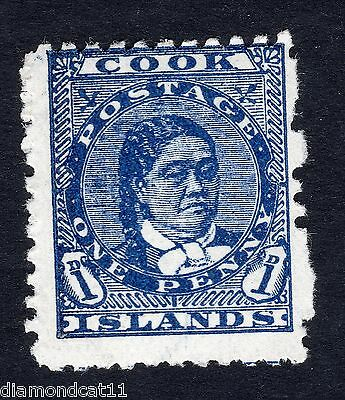 1893 Cook Islands 1d Blue Crisp Mounted Mint R14061