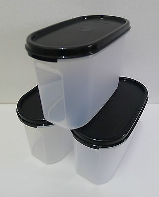 Tupperware Modular Mates OVAL II : 1.1L (Black / Red) Set of 3 + Free Shipping