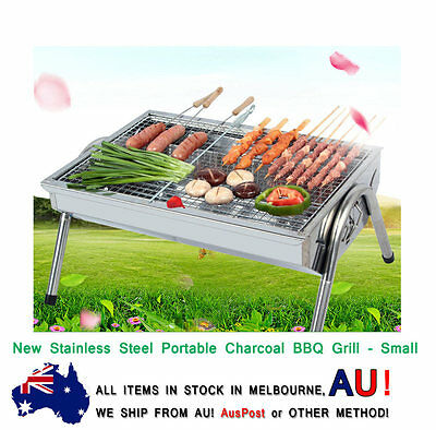 New Stainless Steel Portable Camping Picnic Outdoor Charcoal BBQ Grill - Small