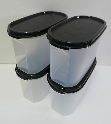 Tupperware Modular Mates OVAL II : 1.1L (Black / Red) Set of 4 + Free Shipping