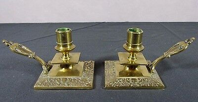 Antique Chamber Candlestick: Pair 19thC French Ornate Bronze Brass Candle Holder