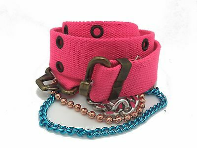 "Diesel Girls Canvas Chain Belt  Kids Bisra Pink Size 18"" - 28"" RRP £35"