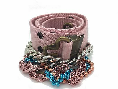 "Diesel Girls Canvas Chain Belt  Kids Bisra Light Pink Size 22"" - 28"" RRP £35"