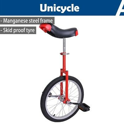 "18"" Wheel Unicycle Uni Cycle Balance Fun Bike Skidproof Scooter Circus Youth Red"