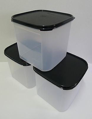 Tupperware Modular Mates SQUARE III : 4.0L (Black/Red) Set of 3 + Free Shipping