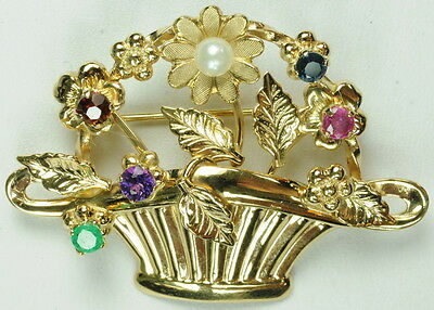 14K Yellow Gold Van Dell Multi Gemstone & Pearl Estate Brooch Pin