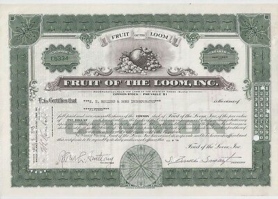 Fruit Of The Loom Inc.......1938 Stock Certificate