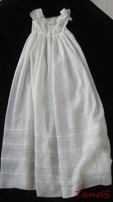 ANTIQUE BABY'S DRESS IN EMBROIDERED COTTON AND LACE,  c. 1870