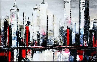 """Modern Art - """"City II"""" 24x36"""" - Abstract 100% Hand Painted oil on canvas"""