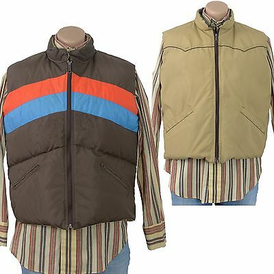 Vintage 70s Reversible RAINBOW PUFFER VEST Western Ski DOWN Puffy Jacket Retro