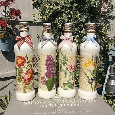 Shabby Chic Butterfly & Flowers decorative Bottle / Candle Holder
