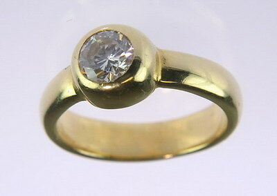 Vintage 18K Yellow Gold 1/2 CT Diamond Solitaire Engagement Estate Ring 053-594