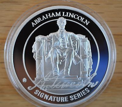"""2015 Proof Abraham Lincoln Signature """"L""""-Silver Plated-Gold layered signature""""L"""""""