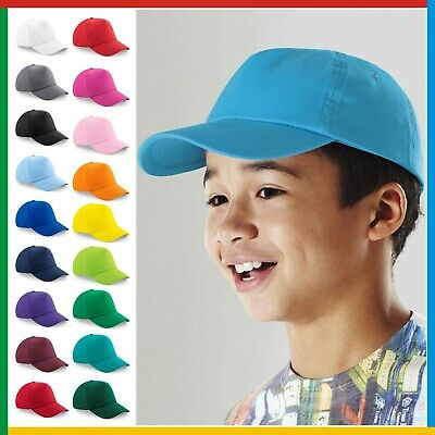 KIDS ORIGINAL 5 PANEL BASEBALL CAP Children's Beechfield Plain 100% Cotton Twill