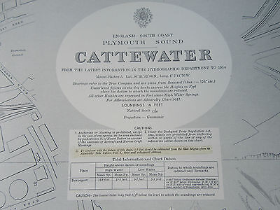 """1955 - CATTEWATER ~ PLYMOUTH SOUND Devon - Nautical SEA MAP Chart 28"""" x 41"""""""