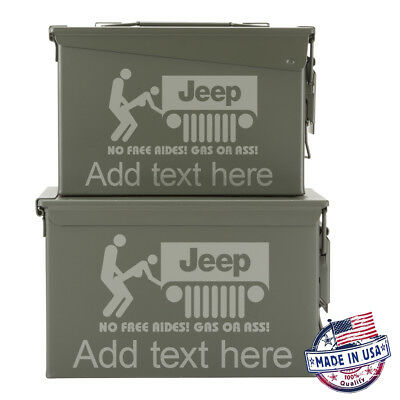 NEW Metal Ammo Can 50 Cal+30 Cal Customized No Free Rides Customized Engraved