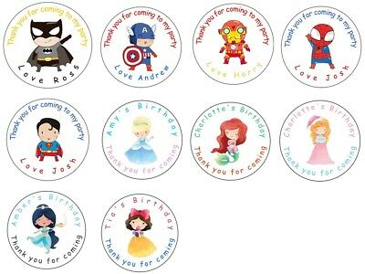 Personalised Birthday Stickers Labels Thank You For Coming To My Party Bag