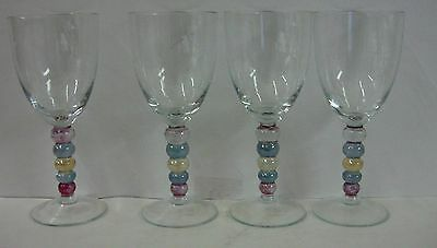 """Block CARNIVAL 8-3/8"""" Water Goblet Stems SET OF FOUR Multicolor Ball Stems"""