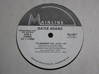 "Soul Modern Boogie 80's 12""-Gayle Adams-I'm Warning You-US Mainline recordspromo"