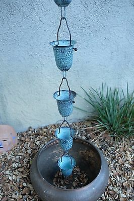 Hammered Copper Patina Cup Rain Chain