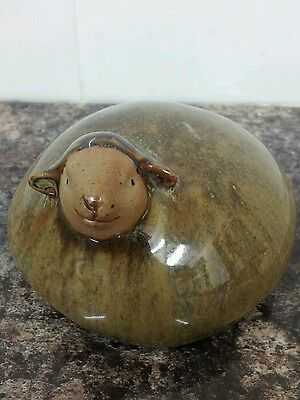 Adorable Stoneware Brown Sheep Lamb Figurine Paperweight by SIA