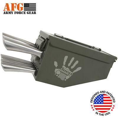 AFG 10 Piece Ammo Can Box Knife Block Cutlery Set High Five Jeep Engraved