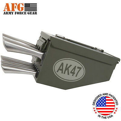 AFG 10 Piece Ammo Can Box Knife Block Cutlery Set AK-47 Assult Rifle Engraved