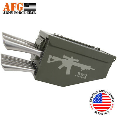 AFG 10 Piece Ammo Can Box Knife Block Cutlery Set 5.56X45 Rifle Engraved