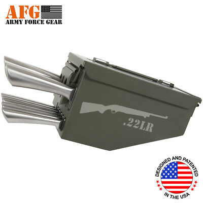 AFG 10 Piece Ammo Can Box Knife Block Cutlery Set 22LR Hunting Riffle Engraved