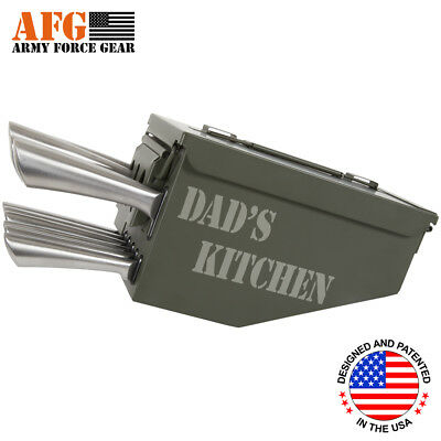 AFG 10 Piece Ammo Can Box Knife Block Cutlery Set Dad's Kitchen Engraved
