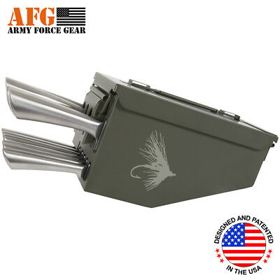 AFG 10 Piece Ammo Can Box Knife Block Cutlery Set Fly Fishing Lure Hook Engraved