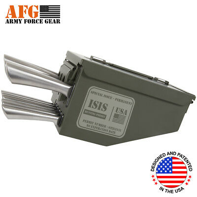AFG 10 Piece Ammo Can Box Knife Block Cutlery Set Isis Hunting Permit Engraved