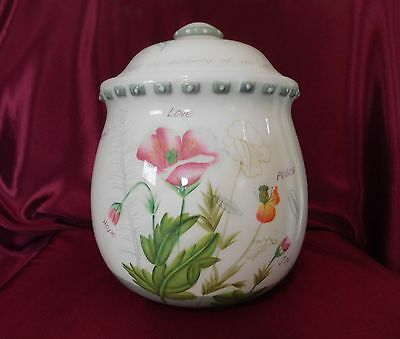 Dicksons Cookie Jar Thanks be to God Scripture Hand Painted Sealing Gasket Lid