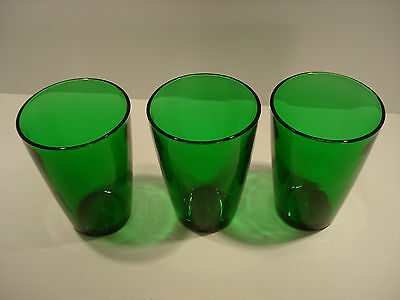 Anchor Hocking Forest Green Glass Tumblers set of three